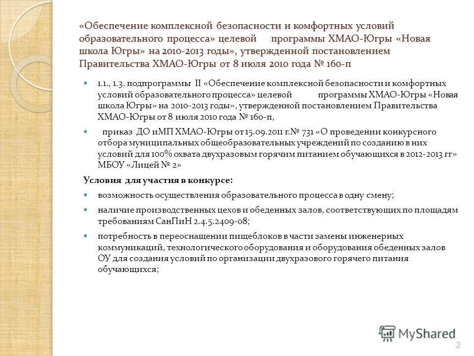 «Обеспечение комплексной безопасности и комфортных условий образовательного процесса» целевой программы ХМАО-Югры «Новая школа Югры» на 2010-2013 годы», утвержденной постановлением Правительства ХМАО-Югры от 8 июля 2010 года 160-п 1.1., 1.3. подпрогр
