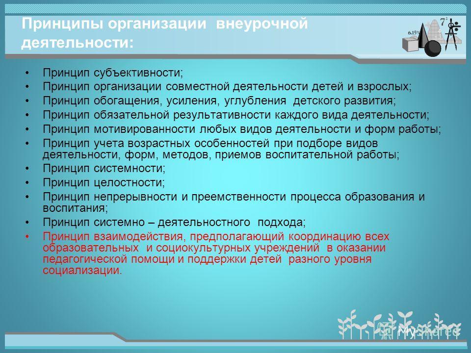 Принципы организации внеурочной деятельности: Принцип субъективности; Принцип организации совместной деятельности детей и взрослых; Принцип обогащения, усиления, углубления детского развития; Принцип обязательной результативности каждого вида деятель