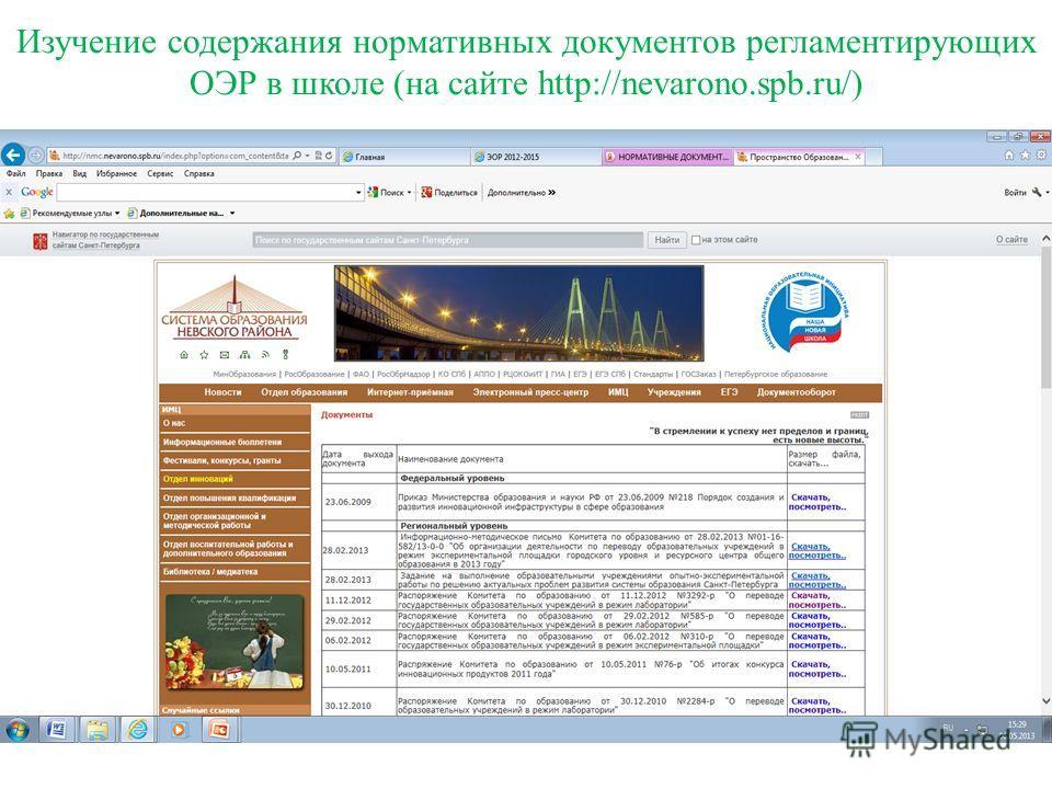 Изучение содержания нормативных документов регламентирующих ОЭР в школе (на сайте http://nevarono.spb.ru/)