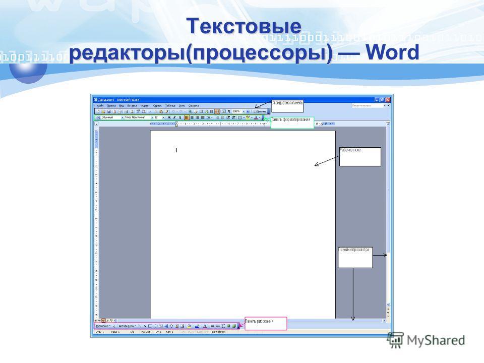 Текстовые редакторы(процессоры) Текстовые редакторы(процессоры) Word