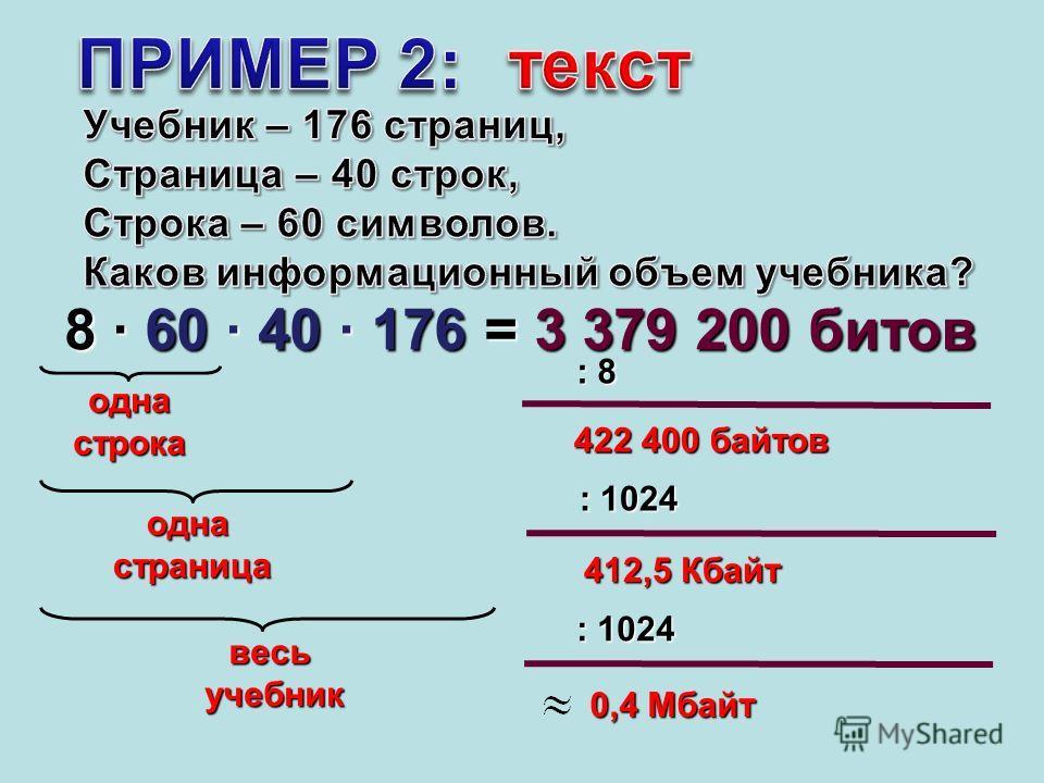однастрока 8 · 60 · 40 · 176 = 3 379 200 битов 422 400 байтов : 8 : 1024 412,5 Кбайт : 1024 0,4 Мбайт однастраница весьучебник