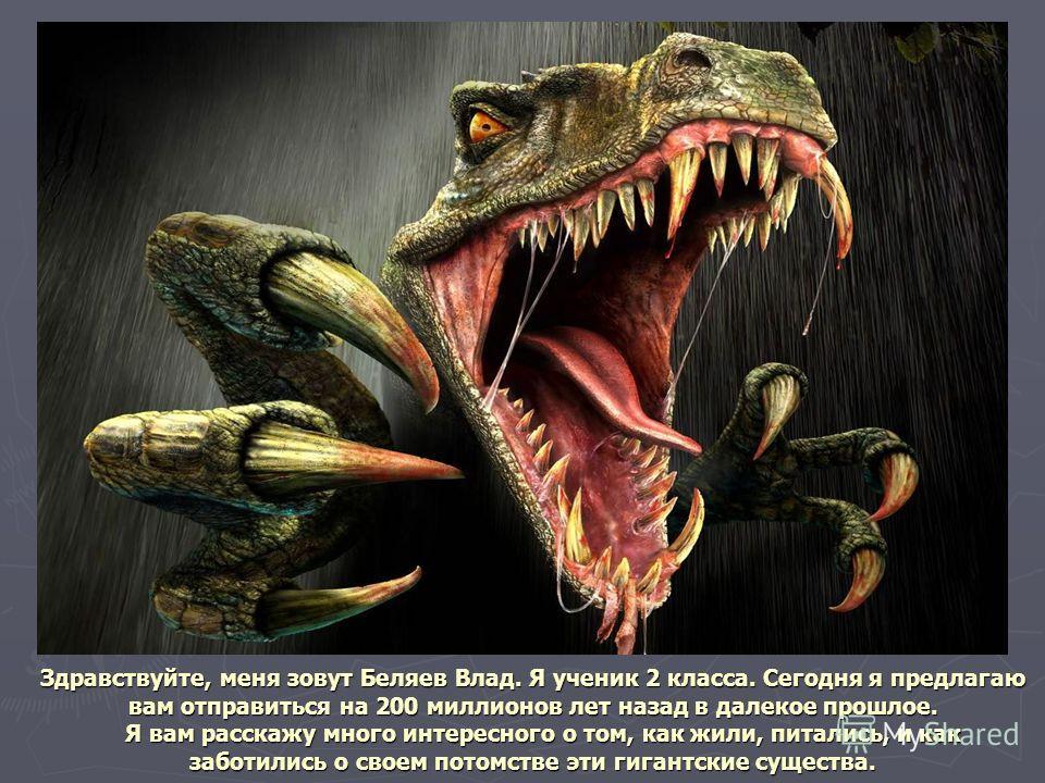 Здравствуйте, меня зовут Беляев Влад. Я ученик 2 класса. Сегодня я предлагаю вам отправиться на 200 миллионов лет назад в далекое прошлое. Я вам расскажу много интересного о том, как жили, питались, и как заботились о своем потомстве эти гигантские с