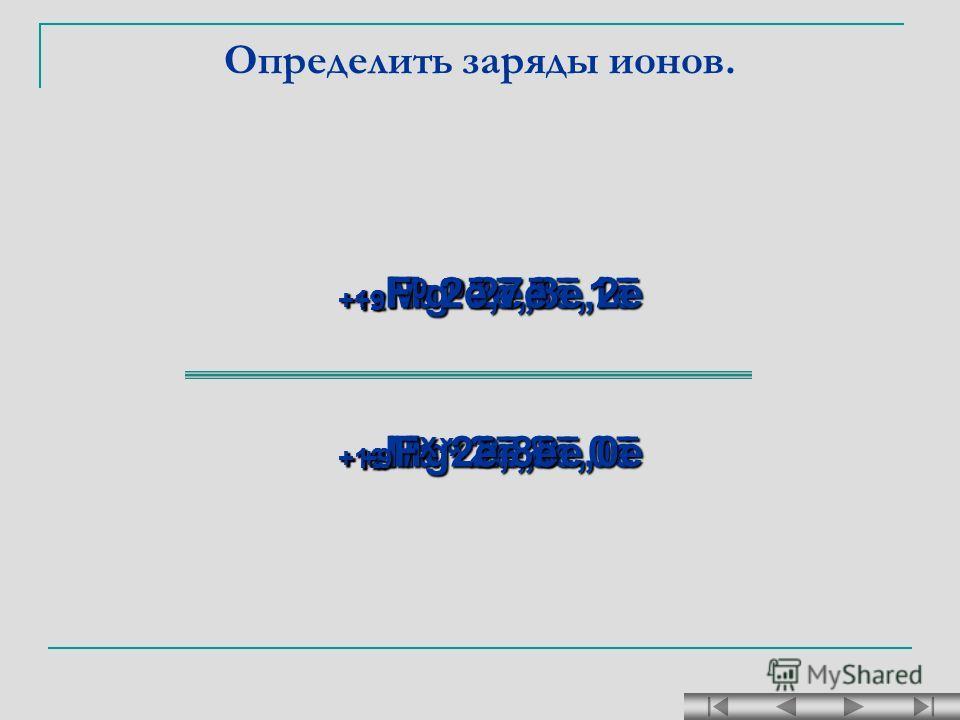 Определить заряды ионов. +11 Na 0 2ē,8ē,1ē + 11 Na х 2ē,8ē,0ē + 12 Mg 0 2ē,8ē,2ē + 12 Mg х 2ē,8ē,0ē +9 F X 2ē,8ē + 9 F 0 2ē,7ē
