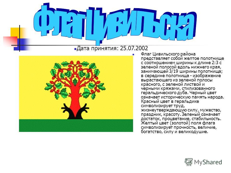 Флаг Цивильского района представляет собой желтое полотнище с соотношением ширины к длине 2:3 с зеленой полосой вдоль нижнего края, занимающей 3/19 ширины полотнища; в середине полотнища - изображение вырастающего из зеленой полосы красного, с зелено
