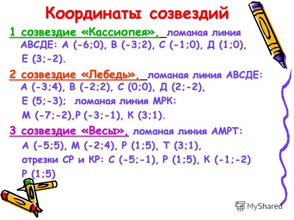 Координаты созвездий 1 созвездие «Кассиопея», ломаная линия АВСДЕ: А (-6;0), В (-3;2), С (-1;0), Д (1;0), Е (3;-2). Е (3;-2). 2 созвездие «Лебедь», ломаная линия АВСДЕ: А (-3;4), В (-2;2), С (0;0), Д (2;-2), Е (5;-3); ломаная линия МРК: Е (5;-3); лом