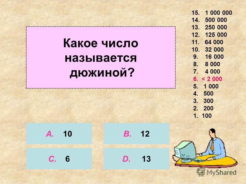 Сколько замечательных точек у треугольника? 15. 1 000 000 14. 500 000 13. 250 000 12. 125 000 11. 64 000 10. 32 000 9. 16 000 8. 8 000 7. 4 000 6. 2 000 5. < 1 000 4. 500 3. 300 2. 200 1. 100 А. 3 С. 2 B. 4 D. 5