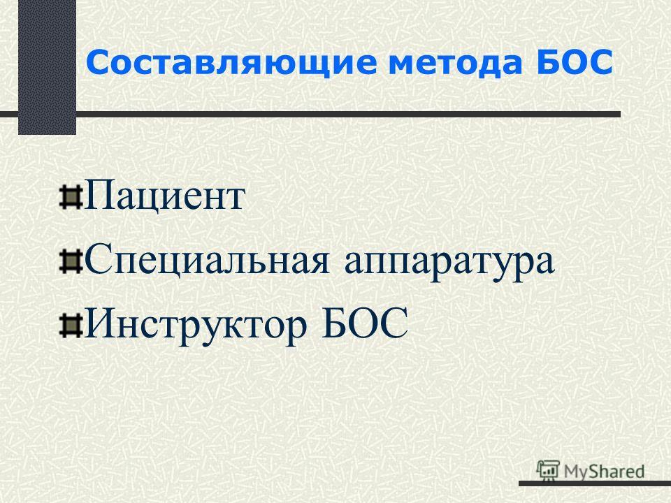 Составляющие метода БОС Пациент Специальная аппаратура Инструктор БОС