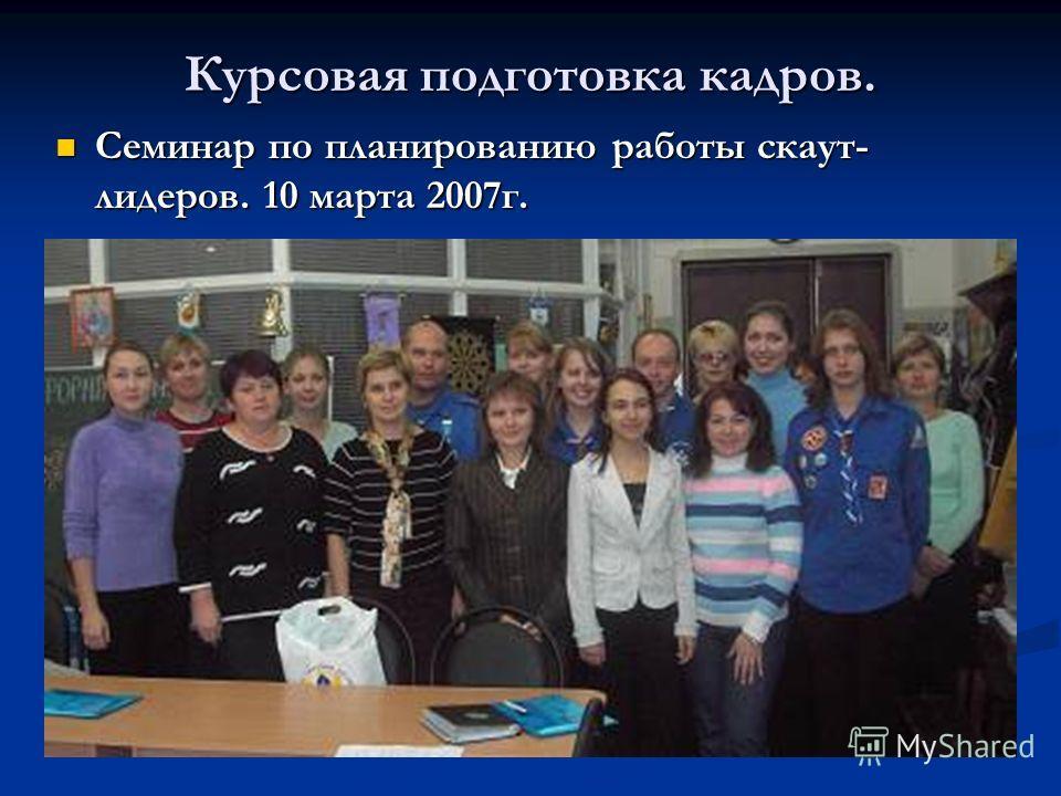 Курсовая подготовка кадров. Семинар по планированию работы скаут- лидеров. 10 марта 2007г. Семинар по планированию работы скаут- лидеров. 10 марта 2007г.