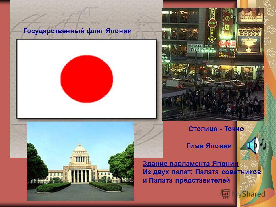 Государственный флаг Японии Столица - Токио Здание парламента Японии Из двух палат: Палата советников и Палата представителей Гимн Японии