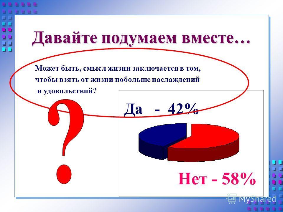 Давайте подумаем вместе… Да - 42% Нет - 58% Может быть, смысл жизни заключается в том, чтобы взять от жизни побольше наслаждений и удовольствий?