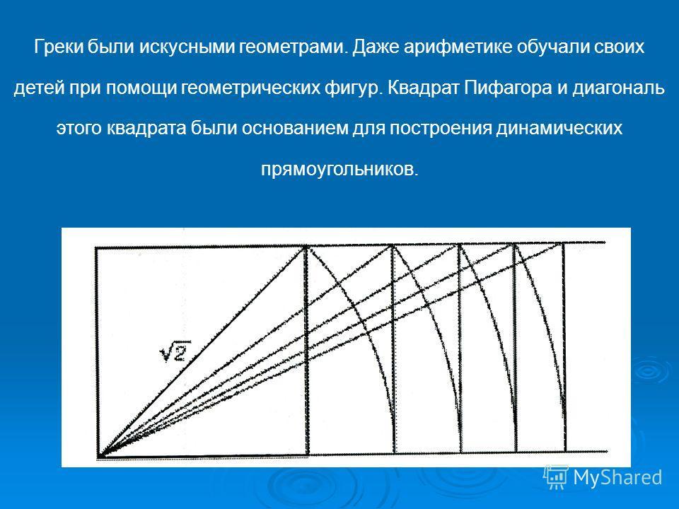 Греки были искусными геометрами. Даже арифметике обучали своих детей при помощи геометрических фигур. Квадрат Пифагора и диагональ этого квадрата были основанием для построения динамических прямоугольников.