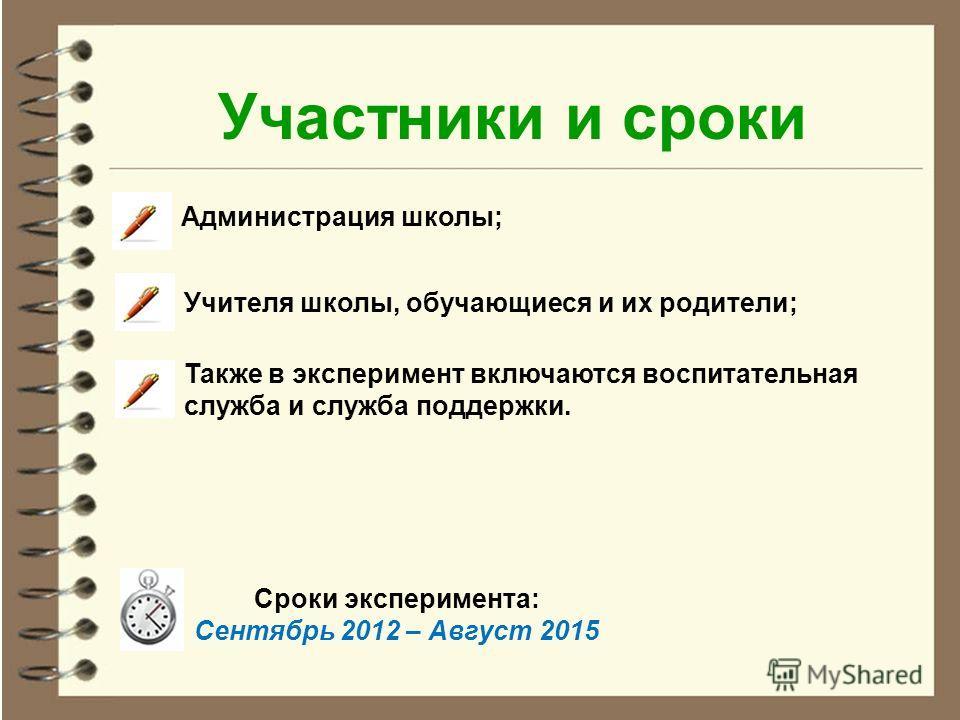 Участники и сроки Администрация школы; Учителя школы, обучающиеся и их родители; Также в эксперимент включаются воспитательная служба и служба поддержки. Сроки эксперимента: Сентябрь 2012 – Август 2015