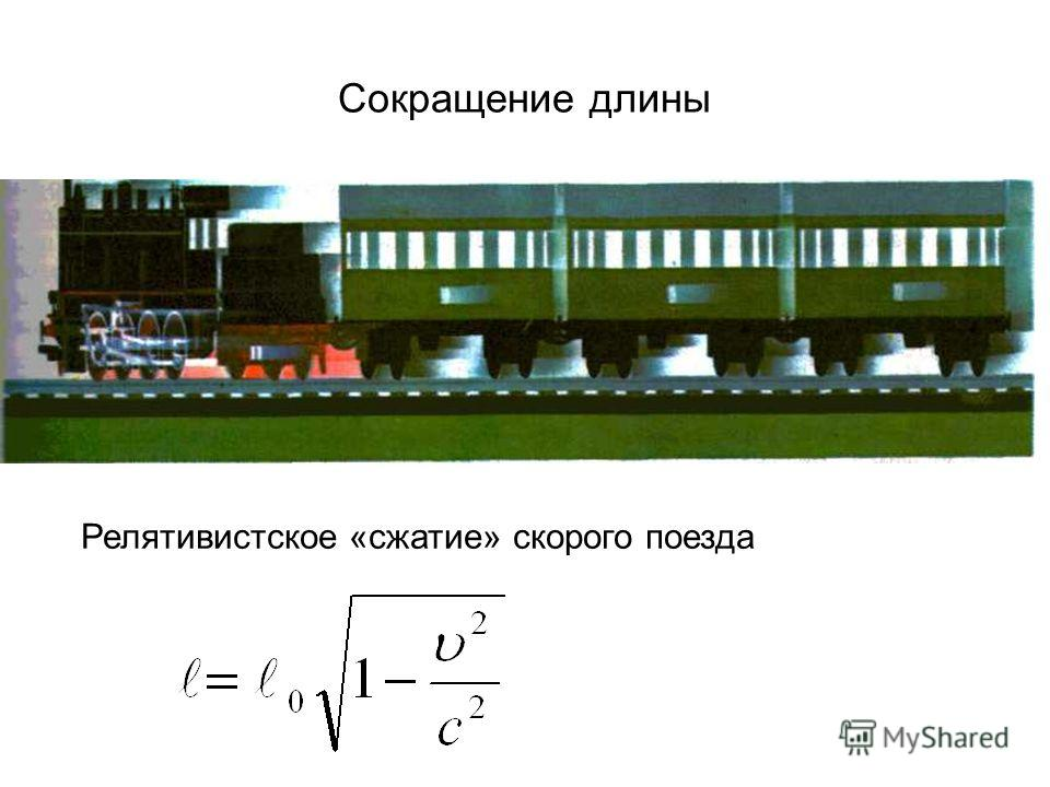 Сокращение длины Релятивистское «сжатие» скорого поезда