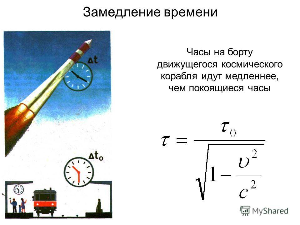 Замедление времени Часы на борту движущегося космического корабля идут медленнее, чем покоящиеся часы