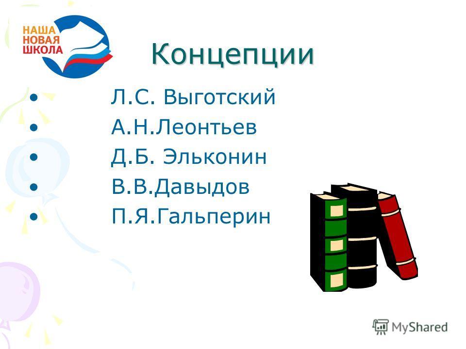 Концепции Л.С. Выготский А.Н.Леонтьев Д.Б. Эльконин В.В.Давыдов П.Я.Гальперин