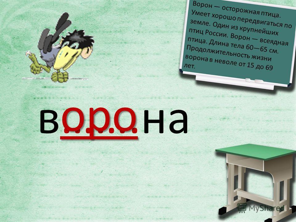 в…….на оро Ворон осторожная птица. Умеет хорошо передвигаться по земле. Один из крупнейших птиц России. Ворон всеядная птица. Длина тела 6065 см. Продолжительность жизни ворона в неволе от 15 до 69 лет.