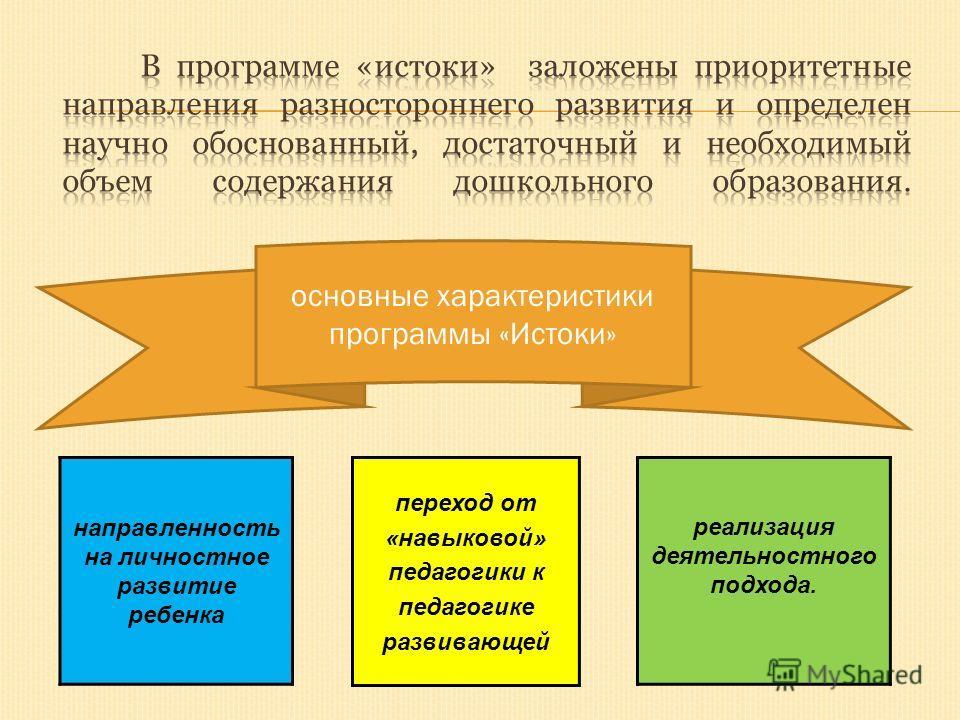 переход от «навыковой» педагогики к педагогике развивающей реализация деятельностного подхода. направленность на личностное развитие ребенка основные характеристики программы «Истоки»
