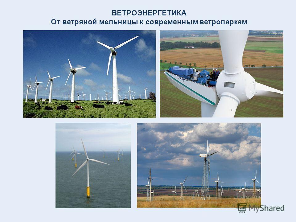 ВЕТРОЭНЕРГЕТИКА От ветряной мельницы к современным ветропаркам