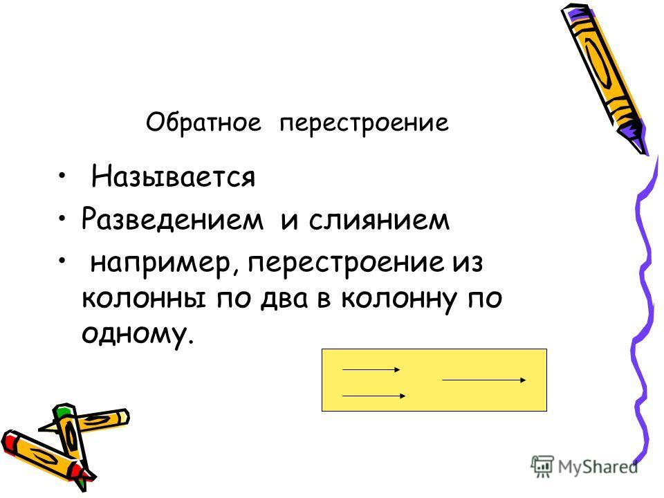 Обратное перестроение Называется Разведением и слиянием например, перестроение из колонны по два в колонну по одному.