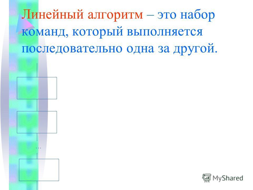Линейный алгоритм – это набор команд, который выполняется последовательно одна за другой. …