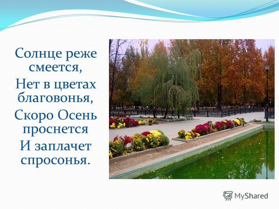 Солнце реже смеется, Нет в цветах благовонья, Скоро Осень проснется И заплачет спросонья.
