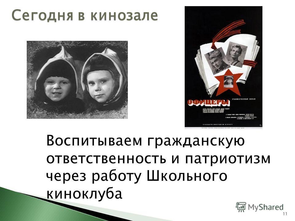 Сегодня в кинозале 11 Воспитываем гражданскую ответственность и патриотизм через работу Школьного киноклуба