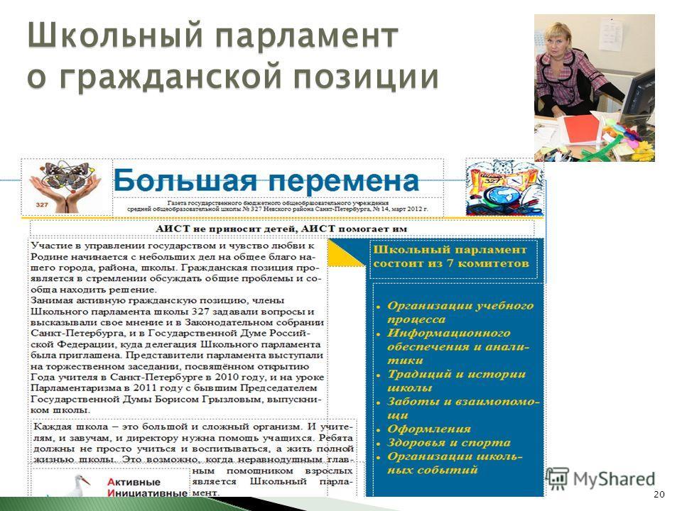 20 Школьный парламент о гражданской позиции