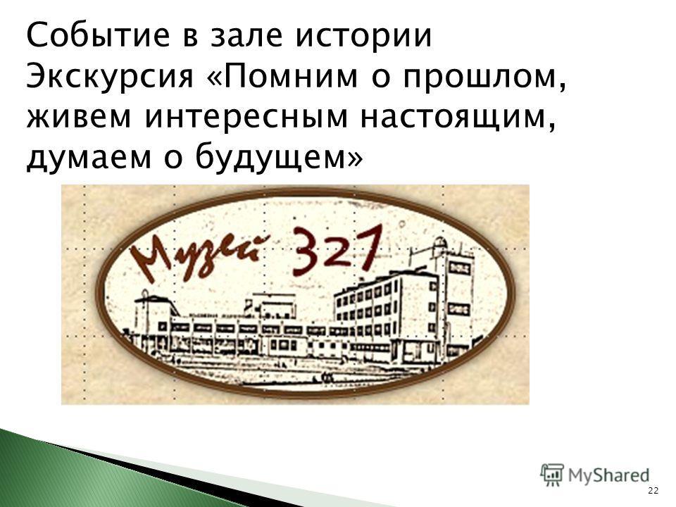 Событие в зале истории Экскурсия «Помним о прошлом, живем интересным настоящим, думаем о будущем» 22