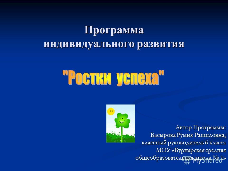 Программа индивидуального развития Автор Программы: Басырова Румия Рашидовна, классный руководитель 6 класса МОУ «Вурнарская средняя общеобразовательная школа 1»