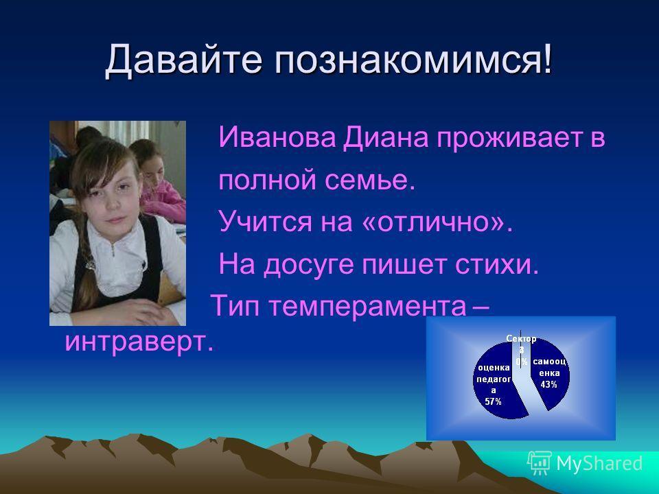 Давайте познакомимся! Иванова Диана проживает в полной семье. Учится на «отлично». На досуге пишет стихи. Тип темперамента – интраверт.