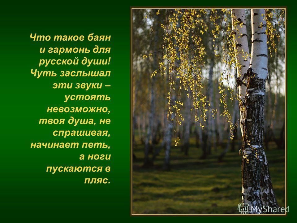 Что такое баян и гармонь для русской души! Чуть заслышал эти звуки – устоять невозможно, твоя душа, не спрашивая, начинает петь, а ноги пускаются в пляс.