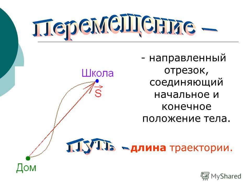 - направленный отрезок, соединяющий начальное и конечное положение тела. длина траектории.