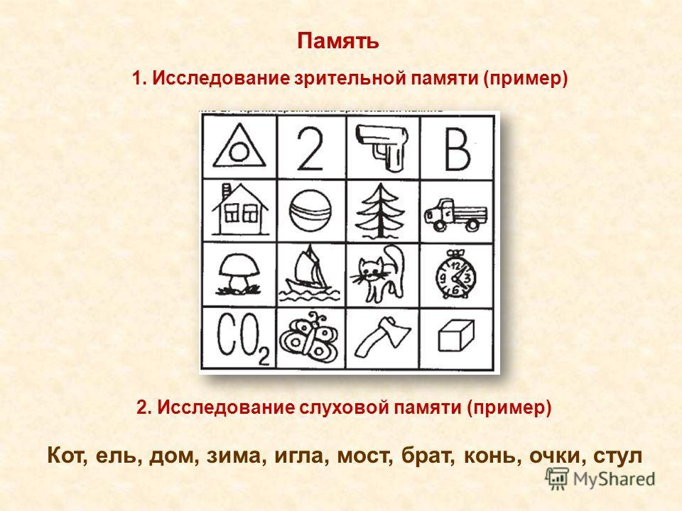 Память Кот, ель, дом, зима, игла, мост, брат, конь, очки, стул 1. Исследование зрительной памяти (пример) 2. Исследование слуховой памяти (пример)