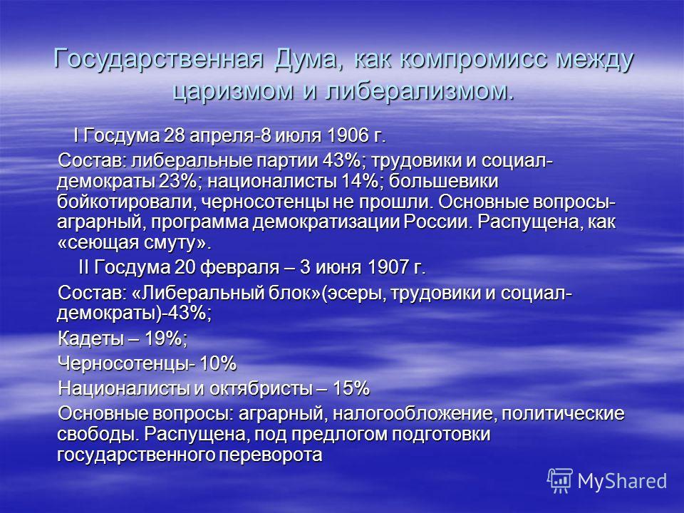 Государственная Дума, как компромисс между царизмом и либерализмом. I Госдума 28 апреля-8 июля 1906 г. I Госдума 28 апреля-8 июля 1906 г. Состав: либеральные партии 43%; трудовики и социал- демократы 23%; националисты 14%; большевики бойкотировали, ч