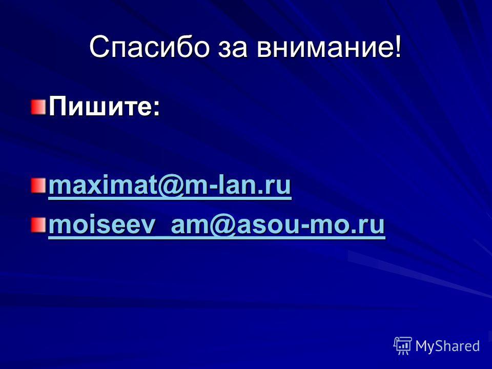 Спасибо за внимание! Пишите: maximat@m-lan.ru moiseev_am@asou-mo.ru moiseev_am@asou-mo.ru
