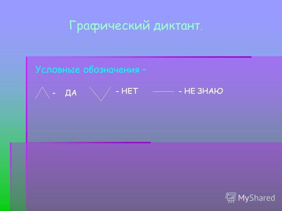 Графический диктант. Условные обозначения – - ДА - НЕТ - НЕ ЗНАЮ