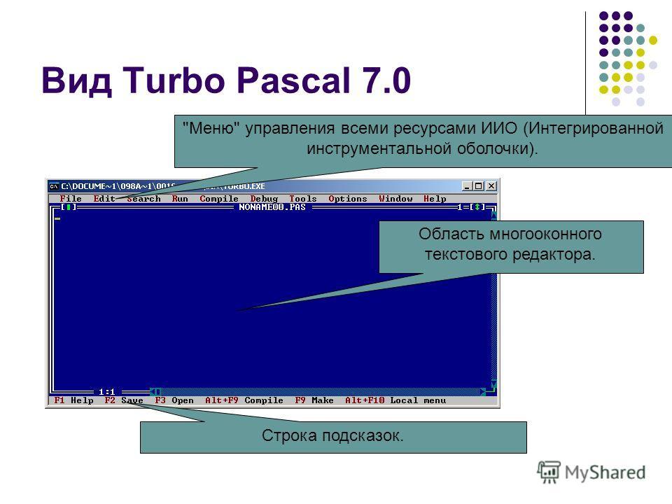 Вид Turbo Pascal 7.0 Меню управления всеми ресурсами ИИО (Интегрированной инструментальной оболочки). Область многооконного текстового редактора. Строка подсказок.