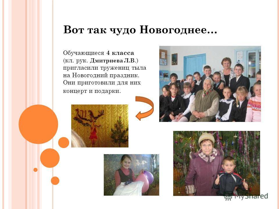 Вот так чудо Новогоднее… Обучающиеся 4 класса (кл. рук. Дмитриева Л.В.) пригласили тружениц тыла на Новогодний праздник. Они приготовили для них концерт и подарки.