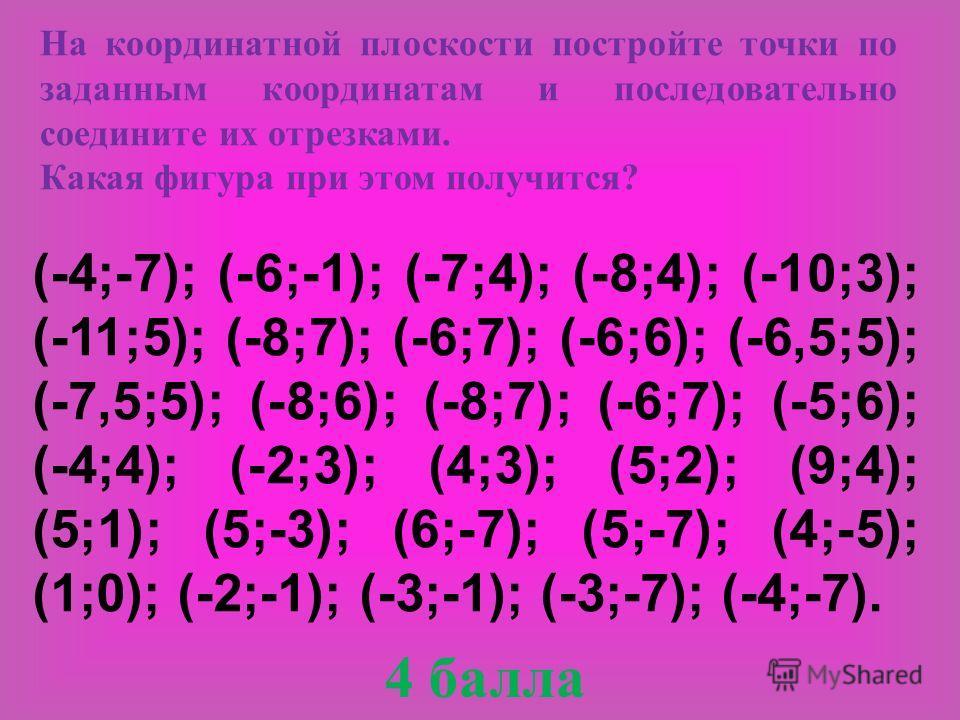 (-4;-7); (-6;-1); (-7;4); (-8;4); (-10;3); (-11;5); (-8;7); (-6;7); (-6;6); (-6,5;5); (-7,5;5); (-8;6); (-8;7); (-6;7); (-5;6); (-4;4); (-2;3); (4;3); (5;2); (9;4); (5;1); (5;-3); (6;-7); (5;-7); (4;-5); (1;0); (-2;-1); (-3;-1); (-3;-7); (-4;-7). На
