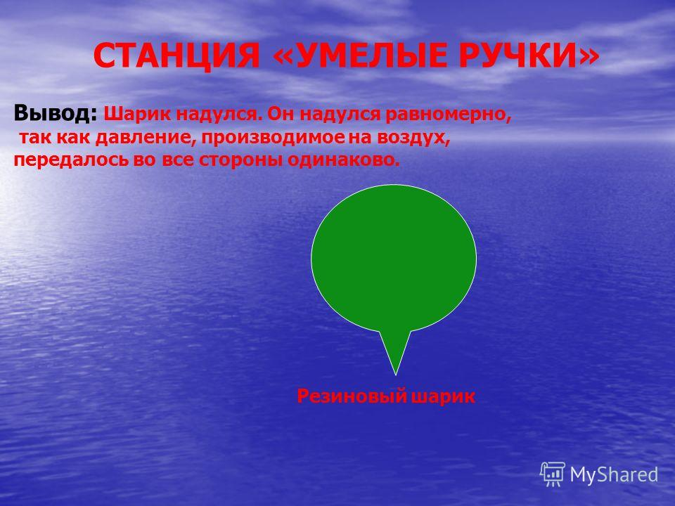 Резиновый шарик Вывод: Шарик надулся. Он надулся равномерно, так как давление, производимое на воздух, передалось во все стороны одинаково.