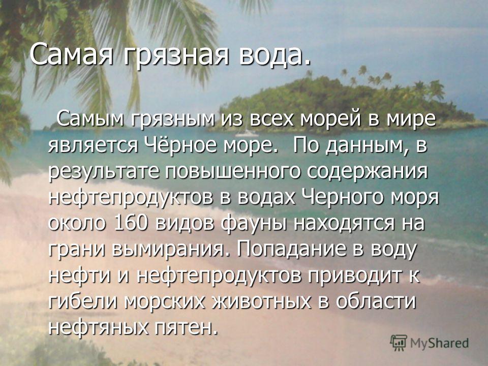 Самая грязная вода. Самым грязным из всех морей в мире является Чёрное море. По данным, в результате повышенного содержания нефтепродуктов в водах Черного моря около 160 видов фауны находятся на грани вымирания. Попадание в воду нефти и нефтепродукто