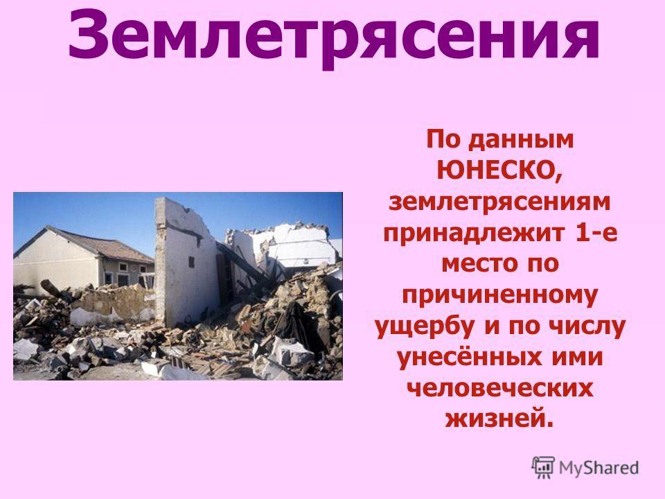 Землетрясения По данным ЮНЕСКО, землетрясениям принадлежит 1-е место по причиненному ущербу и по числу унесённых ими человеческих жизней.