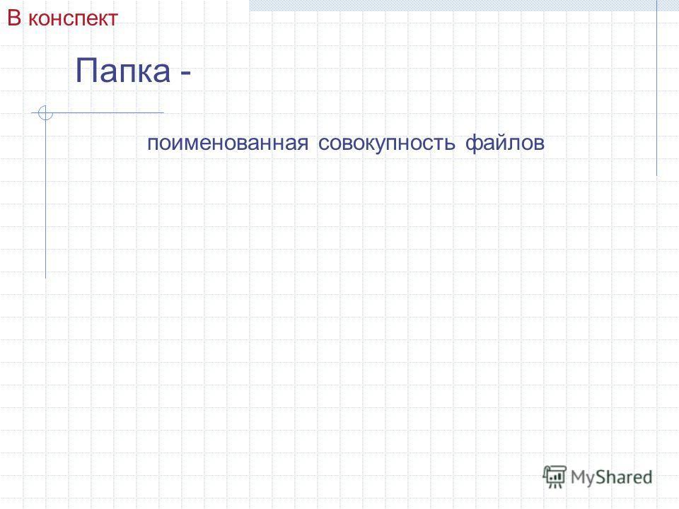 Папка - поименованная совокупность файлов В конспект