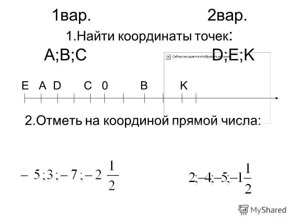 1вар. 2вар. 1.Найти координаты точек : A;B;C D;E;K Е А D C 0 B K 2.Отметь на координой прямой числа: