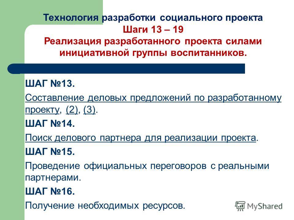 ШАГ 13. Составление деловых предложений по разработанному проектуСоставление деловых предложений по разработанному проекту, (2), (3).(2)(3) ШАГ 14. Поиск делового партнера для реализации проектаПоиск делового партнера для реализации проекта. ШАГ 15.