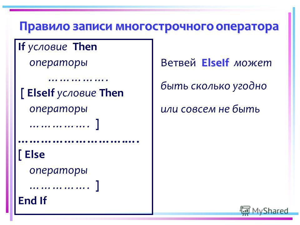 Правило записи многострочного оператора If условие Then операторы ……………. [ ElseIf условие Then операторы ……………. ] ……………………….…. [ Else операторы ……………. ] End If ElseIf Ветвей ElseIf может быть сколько угодно или совсем не быть