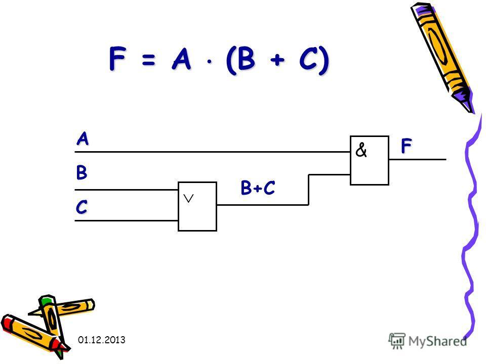 01.12.2013 F = A (В + C) А В С & F В+С
