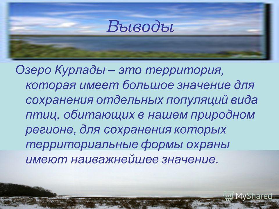 Выводы Озеро Курлады – это территория, которая имеет большое значение для сохранения отдельных популяций вида птиц, обитающих в нашем природном регионе, для сохранения которых территориальные формы охраны имеют наиважнейшее значение.