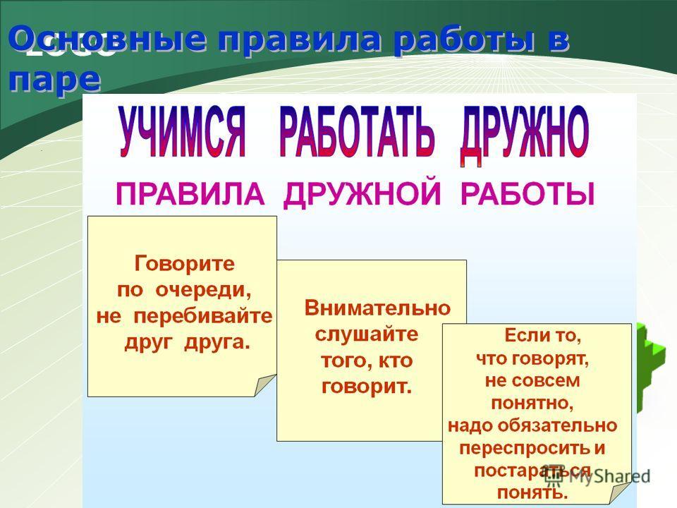 LOGO Основные правила работы в паре.