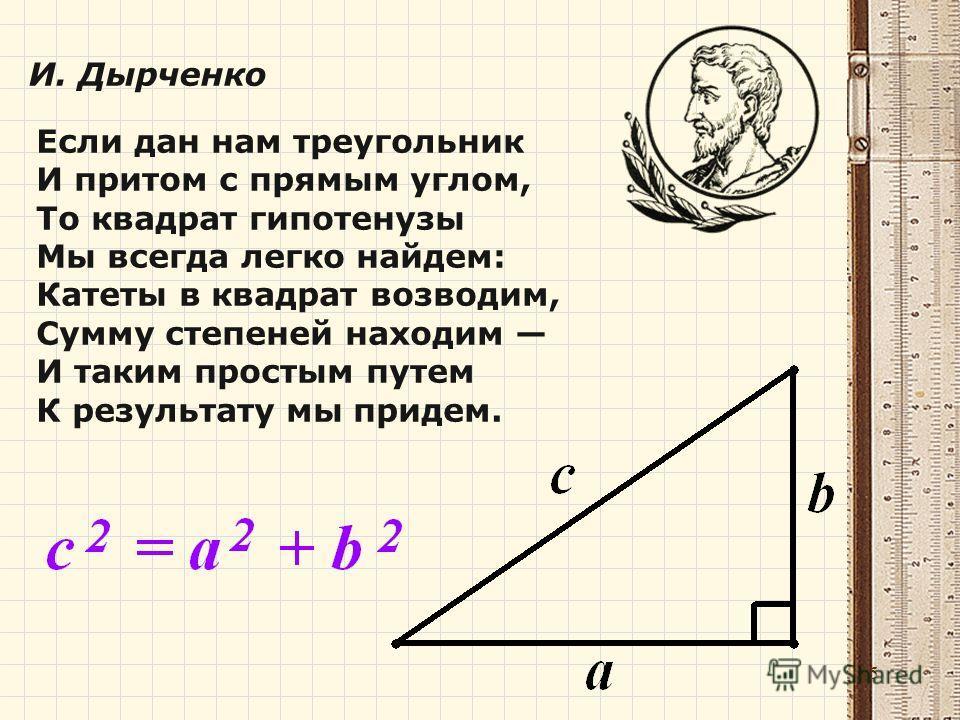 Если дан нам треугольник И притом с прямым углом, То квадрат гипотенузы Мы всегда легко найдем: Катеты в квадрат возводим, Сумму степеней находим И таким простым путем К результату мы придем. И. Дырченко 15